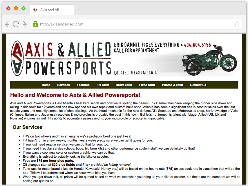 Axis & Allied Web Site image