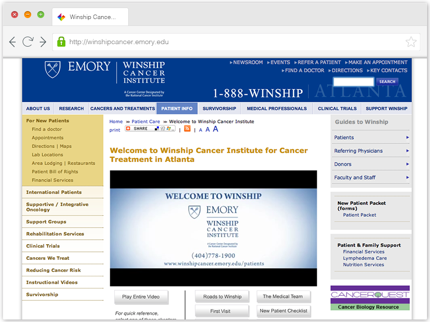 Winship Cancer Institute Web Site image